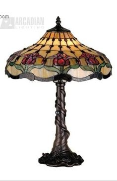 Meyda 82319 Tiffany Style Stained Glass Colonial Tulip Table Lamp H Antique Lamps, Vintage Lamps, Tiffany Table Lamps, Lampe Decoration, Tulip Table, Louis Comfort Tiffany, Table Lamp Base, Light Table, Stained Glass Lamps