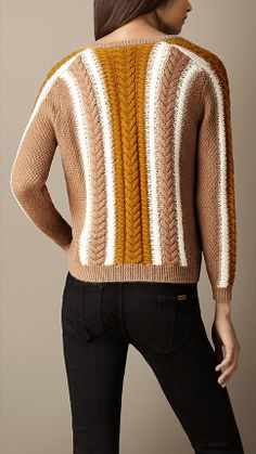 Burberry - striped cable knit sweater