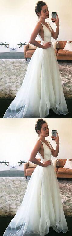 White Prom Dresses, Long Prom Dresses, A-line Prom Dresses V-neck, Modest Prom Dresses For Teens, Tulle Prom Dresses Ruffles