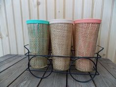 Vintage Set Of 6 Raffia Ware Tumblers Glasses in Wire Carrier Melmac