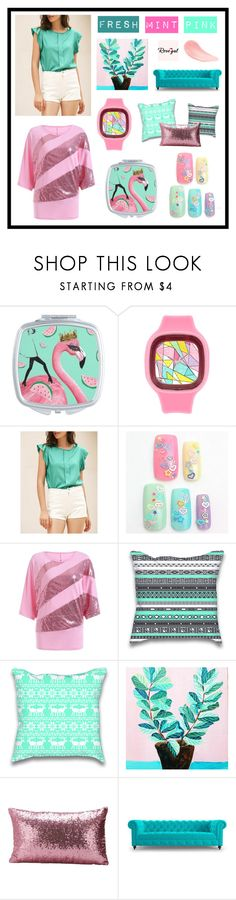 """Fresh Mint Pink Rosegal Spring"" by beanpod ❤ liked on Polyvore featuring Joybird"