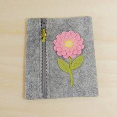Wool Felt Zipper Pouch Pink & Yellow Flower Hand by TheBlueDaisy