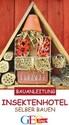 Help wild bees and other insects: Open an insect hotel! We show you how to build an insect hotel. Diy Art Projects, Diy Garden Projects, Garden Crafts, Diy Garden Decor, Projects For Kids, Garden Art, Crafts For Kids, Easy Crafts, Design Diy
