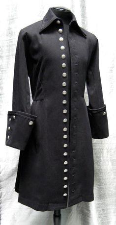 Galleon Coat in Black Denim by Shrine of Hollywood.