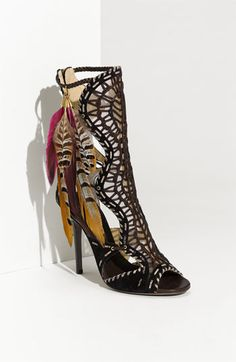 The Jimmy Choo Kevan Feather Trim Gladiator Sandals feature mesh and woven leather material plus colorful plumes. Pretty Shoes, Beautiful Shoes, Awesome Shoes, Crazy Shoes, Me Too Shoes, Mode Shoes, Pumps, Stilettos, Unique Shoes