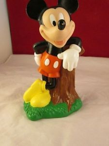 Vintage Disney Mickey Mouse Bank Leaning Tree Stump Coin Money