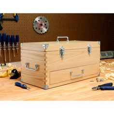 Found it at Wayfair - Wooden Toolbox Tool Box Diy, Wood Tool Box, Wooden Tool Boxes, Wood Boxes, Wood Router, Woodworking Wood, Woodworking Projects, Box Joints, Box Joint Jig