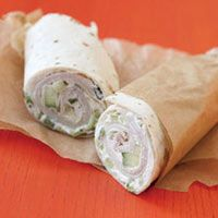 Wrap with Cucumber Cream Cheese: Stir diced cucumbers into cream cheese, spread on tortillas, layer with turkey or ham slices and roll up