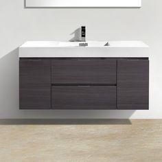 "Tenafly 48"" Single Wall Mount Modern Bathroom Vanity Set"