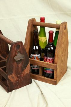 22oz Bomber Beer Caddy Wine Caddy Rustic by ReImagineUpCycling