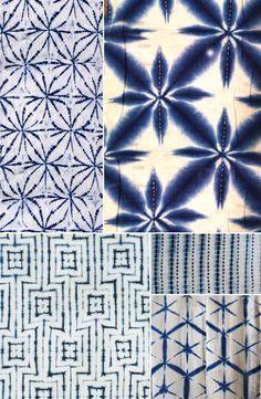 History of Surface Design: Shibori - Pattern Observer  Images via: (clockwise from top left) 1. unknown source via Pinterest; 2. via http://styleindicator.com ; 3. & 4. via  http://threads.srithreads.com ; 5. by shibori master Motohiko Katano via http://shibori.org