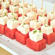 Fresh, simple, delicious summer appetizer - watermelon feta bites with mint