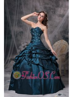 Modest Teal Ball Gown Sweetheart Quinceanea Dress Taffeta Appliques Floor-length  http://www.fashionos.com