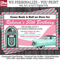Birthday Invitation - Sock Hop Theme - Fifties Invitation by PuggyPrints 70th Birthday Invitations, 70th Birthday Parties, 50th Party, Mom Birthday, Party Invitations, Birthday Ideas, 50s Theme Parties, Grease Party, Sock Hop
