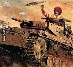 Rommel McDonald Dystopian Future, Best Funny Pictures, Military Vehicles, Ronald Mcdonald, Sick, Army, Memes, Cute, Mcdonalds