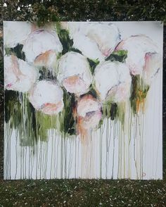 Abstract flower painting in oils by Jeannie Dolan