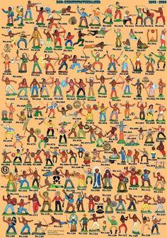 (0011) großes Plakat (A1) mit allen DDR Indianer und Trapper in Originalgröße   eBay - ich hatte auch welche... India World Map, Ddr Brd, Britains Toys, Vintage Toys 1970s, Ddr Museum, Toy Catalogs, Plastic Man, East Germany, Thing 1