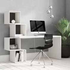 Hashtag Home Schreibtisch Aquarius Office Table, Office Decor, Table Desk, Corner Writing Desk, White Desks, Desk With Drawers, Home Office Design, Decor Room, Office Interiors