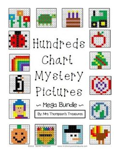 Hundreds Chart Mystery Pictures Mega Bundle. This is a set of many fun printable worksheets for students to practice place value and recognizing colors and numbers on a hundreds chart. Use the key to color in the boxes and reveal a hidden picture! Math Classroom, Kindergarten Math, Teaching Math, Teaching Ideas, Classroom Ideas, Preschool, 100 Days Of School, School Holidays, Summer School