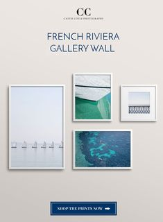 French Riviera photography gallery wall. Prints pictured: The Little Sailboats No. 2, Yacht No. 2, Côte d'Azur No. 4, and Quiet Morning. Coastal Wall Decor, Nautical Wall Art, Coastal Art, Home Decor Wall Art, Coastal Living, Green Art, Blue Art, Wall Art Prints, Fine Art Prints