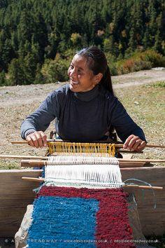 Hand loom Weaving . Nepal