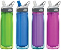 There are tons of cool designs out there for reusable water bottles.  Or for less expensive plain and simple bottles, check your local bike store.  No more disposable-water-bottles-as-fashion-accessories please.  <3