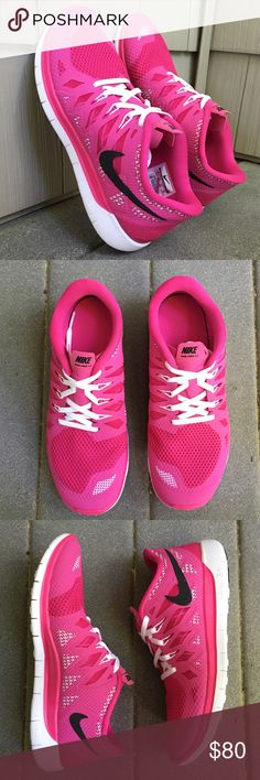 SIZES JUST ADDED | Nike | Pink Free Run 5.0 I  OFFERS. These pink Nike Free 5.0 sneakers are brand new in the box (will only send box upon request). Never been worn. Excellent condition and perfect for running! Features a very flexible sole and are very lightweight. Size 4Y is equivalent to a women's size 5.5, size 4.5Y is equivalent to a women's size 6, size 5.5Y is equivalent to a women's size 7, and a 7Y is equivalent to a women's size 8.5. Nike Shoes Sneakers