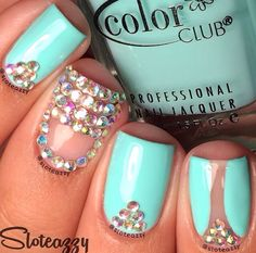 Turquoise & Gem Designed Nails ~ Pretty