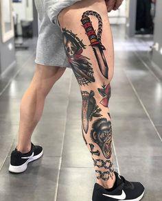 Best Tattoo Leg Old School American Traditional 17 Ideas Tattoos 3d, Tattoos Mandala, Sweet Tattoos, Feather Tattoos, Trendy Tattoos, Black Tattoos, Body Art Tattoos, Sanduhr Tattoo Old School, Watercolor Tatto