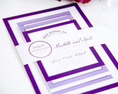 Purple Wedding Invitation  Modern Circle Logo by shineinvitations