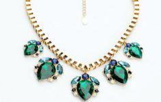 Emerald drop rain drops necklace green statement fashion  www.thehangoutb.com