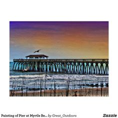 Painting of Pier at Myrtle Beach - Postcard