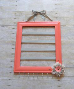 Coral and Gray Bow and Headband Holder, Hair bow holder, Jewelry Organizer, Barrette Hair bow and headband, picture frame hair bow storage - Sofisty HairStylE Hair Bow Storage, Headband Storage, Little Girl Rooms, Little Girls, Diy Headband Holder, Girls Room Organization, Bow Hanger, Diy Frame, Kind Mode