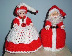 SANTA & MRS. SANTA AIR FRESHENER T.P. COVER DOLLS, Crochet, RED OUTFITS, New