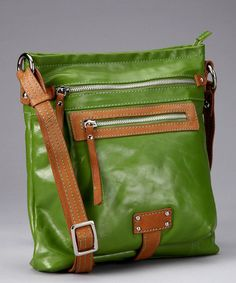 Take a look at this Apple Green Pocket Crossbody Bag by Nino Bossi Handbags on #zulily today!