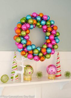 How to make a Christmas Ornament Wreath with bright colored bulbs