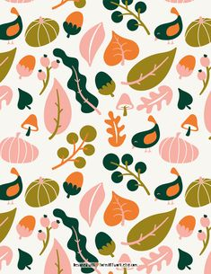 Autumn Illustration, Plant Illustration, Pattern Illustration, Fall Patterns, Patterns In Nature, Print Patterns, Wallpaper Iphone Cute, Wallpaper Backgrounds, Posca Art