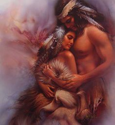 If a man expects his woman to be an angel in his life, then he should first create a heaven for her. [Artwork by Lee Bogle]