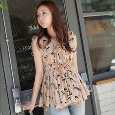 Aliexpress.com : Buy Women Lady Sleeveless Short Sweet Deer Printed Chiffon Shirt Tops Blouse # L034682 from Reliable shirt suppliers on Shanghai Yi Yuan Trade Co.,Ltd. $9.19
