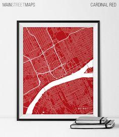 Items similar to Detroit Map Print, Detroit Poster of Michigan Map of Detroit Print Gift MI Detroit Michigan Art University Map Poster Dorm Decor on Etsy Michigan State Map, Detroit Map, Map Art, Decoration, Artwork Prints, Screen Printing, City, Industrial Office, Active
