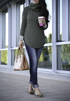 What to wear on the weekends, casual fall outfit, olive green sweater, leopard flats, striped turtleneck, petite fashion blog, stylish petite - click the photo for outfit details!