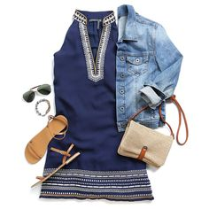 Stylist: love this dress for summer! Cute with the jean jacket too! Send my way :) Want to try out Stitch Fix? Sign up here: https://www.stitchfix.com/referral/5098913