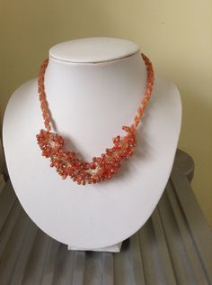 Spiral rope with peyote ruffle inspired by coral