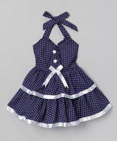 Navy Polka Dot & Bow Dress - Toddler & Girls. BY: Lele for Kids.