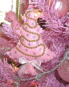 PINK Christmas -My handmade vintage style felt ornaments!      Stephanie at http//angelicaccentsallthingschristmas.blogspot.com