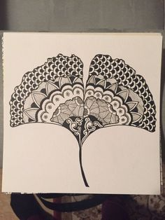 Ginko Leaf Zentangle, Original, Doodle Art, in., Black and White Japanese Quilt Patterns, Japanese Quilts, Doodles Zentangles, Zentangle Patterns, Zen Doodle, Doodle Art, Black Tattoos, Leaf Tattoos, Leave Art