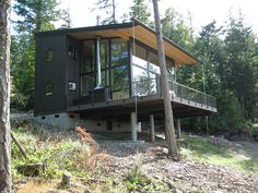 Lots of glass in this mountain cabin.