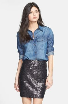 $178, Blue Denim Shirt: Paige Denim Ali Chambray Shirt. Sold by Nordstrom. Click for more info: https://lookastic.com/women/shop_items/155471/redirect