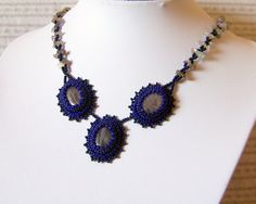 Blue amethyst  Set  Bead Embroidered Necklace And by lutita, $85.00