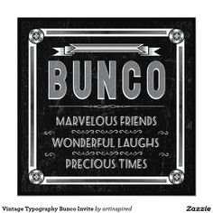 Invite your friends over for a fun Bunco party with these Vintage Typography Bunco Invites by Artinspired.